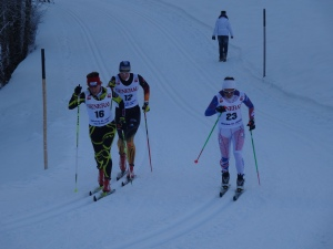 Skiing with a French and German in the classic mass start in St Ulrich