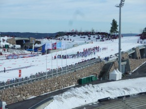 The start of the mens 50km race in Holmenkollen