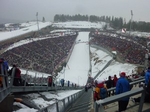 Looking down at the ski jump crowds