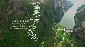 The route (screenshot from NRK)